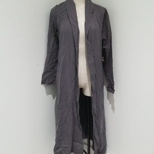 NWT LUII gray duster lightweight jacket cover med